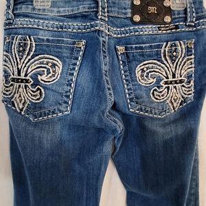 Miss me bling fleur-de-lis skinny jeans 31